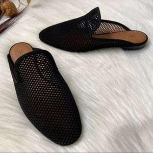 Frye Gwen Perforated Leather Slide Mules Black 8